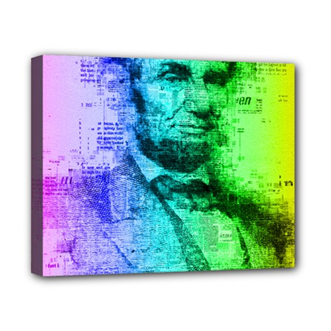 Abraham Lincoln Portrait Rainbow Colors Typography Canvas 10  X 8  by yoursparklingshop