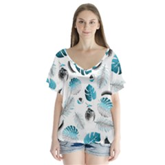 Tropical Pattern Flutter Sleeve Top by Valentinaart