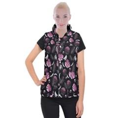 Tropical pattern Women s Button Up Puffer Vest by Valentinaart