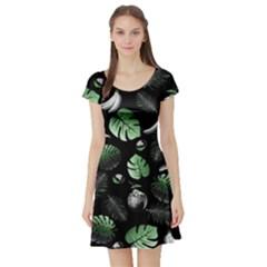 Tropical Pattern Short Sleeve Skater Dress by Valentinaart