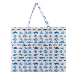 Fish Pattern Zipper Large Tote Bag by ValentinaDesign