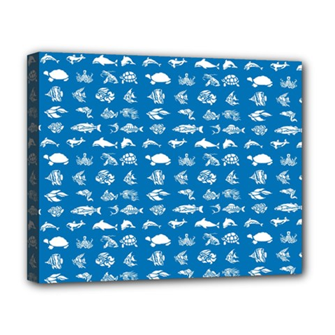 Fish Pattern Deluxe Canvas 20  X 16   by ValentinaDesign