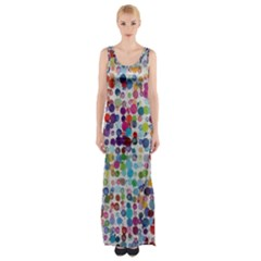 Colorful Splatters               Maxi Thigh Split Dress by LalyLauraFLM