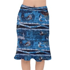 Blue Painted Wood                    Short Mermaid Skirt by LalyLauraFLM