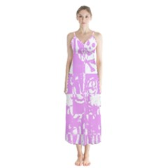 Pink Graffiti Skull Button Up Chiffon Maxi Dress