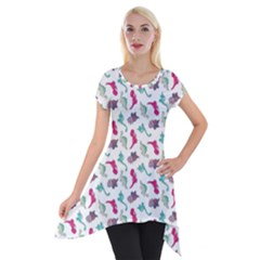 Dinosaurs Pattern Short Sleeve Side Drop Tunic by ValentinaDesign