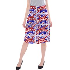 Happy 4th Of July Theme Pattern Midi Beach Skirt by dflcprintsclothing