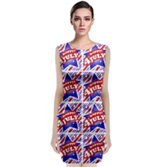 Happy 4th Of July Theme Pattern Sleeveless Velvet Midi Dress by dflcprintsclothing