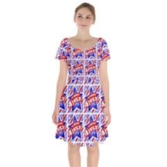 Happy 4th Of July Theme Pattern Short Sleeve Bardot Dress by dflcprintsclothing