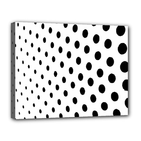 Polka Dot Black Circle Canvas 14  X 11  by Mariart
