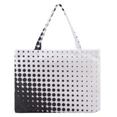 Comic Dots Polka Black White Medium Zipper Tote Bag by Mariart