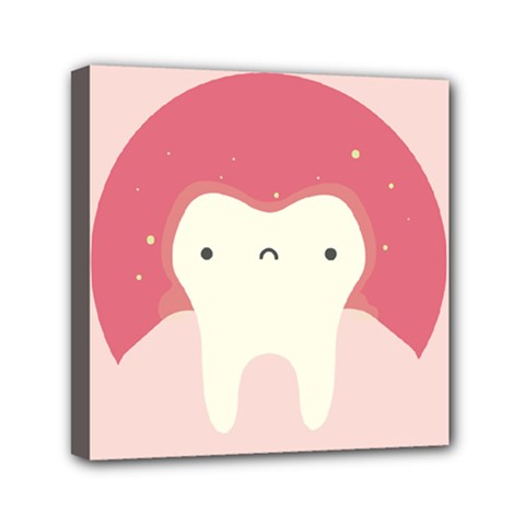 Sad Tooth Pink Mini Canvas 6  X 6  by Mariart