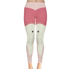 Sad Tooth Pink Leggings  by Mariart
