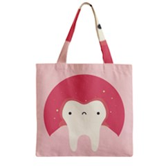 Sad Tooth Pink Zipper Grocery Tote Bag by Mariart