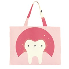 Sad Tooth Pink Zipper Large Tote Bag by Mariart