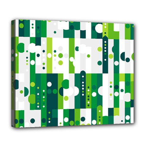 Generative Art Experiment Rectangular Circular Shapes Polka Green Vertical Deluxe Canvas 24  X 20   by Mariart