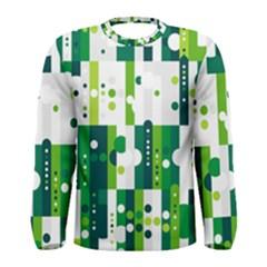 Generative Art Experiment Rectangular Circular Shapes Polka Green Vertical Men s Long Sleeve Tee by Mariart