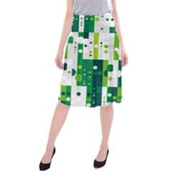 Generative Art Experiment Rectangular Circular Shapes Polka Green Vertical Midi Beach Skirt