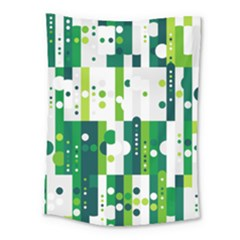Generative Art Experiment Rectangular Circular Shapes Polka Green Vertical Medium Tapestry by Mariart