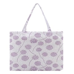 Purple Tulip Flower Floral Polkadot Polka Spot Medium Tote Bag by Mariart