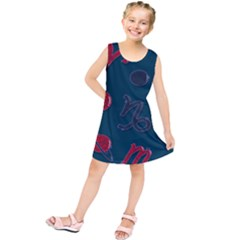 Zodiac Signs Planets Blue Red Space Kids  Tunic Dress