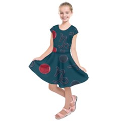 Zodiac Signs Planets Blue Red Space Kids  Short Sleeve Dress