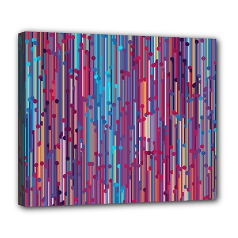 Vertical Behance Line Polka Dot Blue Green Purple Red Blue Black Deluxe Canvas 24  X 20   by Mariart
