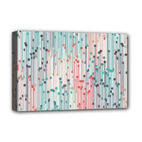 Vertical Behance Line Polka Dot Grey Pink Deluxe Canvas 18  X 12   by Mariart