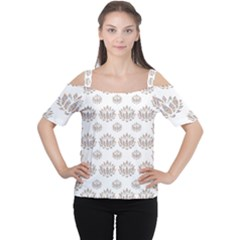 Dot Lotus Flower Flower Floral Women s Cutout Shoulder Tee