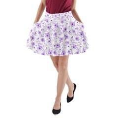 Floral Pattern A Line Pocket Skirt by ValentinaDesign