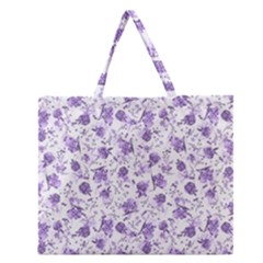 Floral Pattern Zipper Large Tote Bag by ValentinaDesign