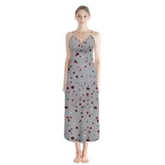 Dots Pattern Button Up Chiffon Maxi Dress