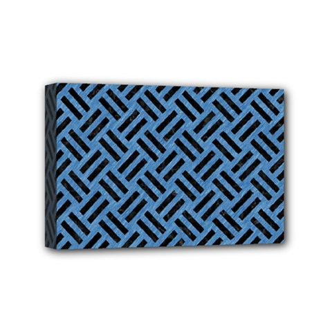Woven2 Black Marble & Blue Colored Pencil (r) Mini Canvas 6  X 4  (stretched) by trendistuff