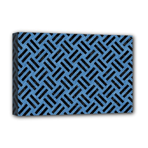 Woven2 Black Marble & Blue Colored Pencil (r) Deluxe Canvas 18  X 12  (stretched) by trendistuff