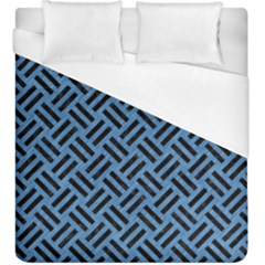 Woven2 Black Marble & Blue Colored Pencil (r) Duvet Cover (king Size) by trendistuff