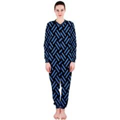 Woven2 Black Marble & Blue Colored Pencil Onepiece Jumpsuit (ladies) by trendistuff