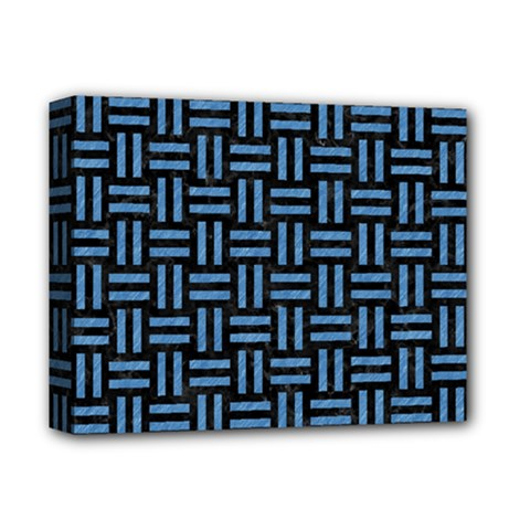 Woven1 Black Marble & Blue Colored Pencil Deluxe Canvas 14  X 11  (stretched) by trendistuff