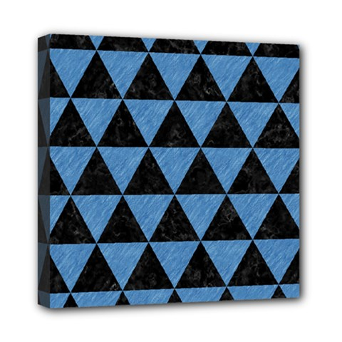 Triangle3 Black Marble & Blue Colored Pencil Mini Canvas 8  X 8  (stretched) by trendistuff
