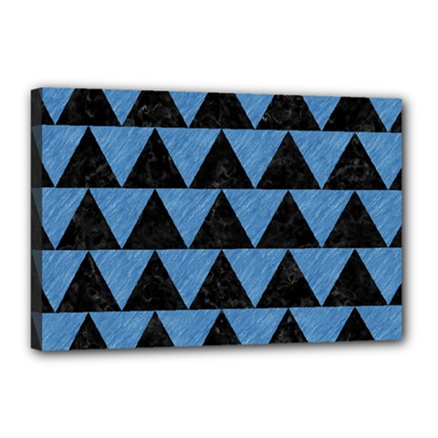 Triangle2 Black Marble & Blue Colored Pencil Canvas 18  X 12  (stretched) by trendistuff