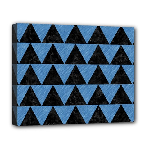 Triangle2 Black Marble & Blue Colored Pencil Deluxe Canvas 20  X 16  (stretched) by trendistuff