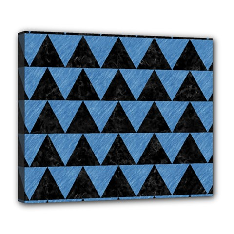 Triangle2 Black Marble & Blue Colored Pencil Deluxe Canvas 24  X 20  (stretched) by trendistuff