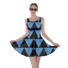 Triangle2 Black Marble & Blue Colored Pencil Skater Dress by trendistuff
