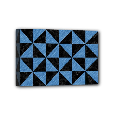 Triangle1 Black Marble & Blue Colored Pencil Mini Canvas 6  X 4  (stretched) by trendistuff