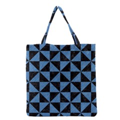 Triangle1 Black Marble & Blue Colored Pencil Grocery Tote Bag by trendistuff