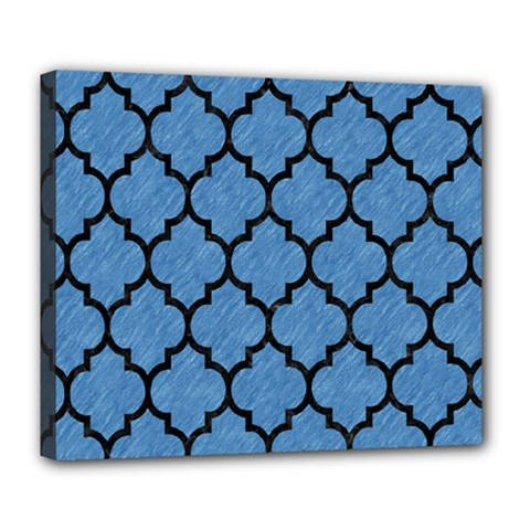 Tile1 Black Marble & Blue Colored Pencil (r) Deluxe Canvas 24  X 20  (stretched) by trendistuff