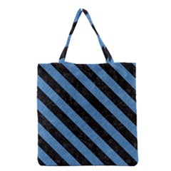 Stripes3 Black Marble & Blue Colored Pencil (r) Grocery Tote Bag by trendistuff