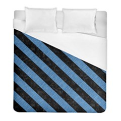 Stripes3 Black Marble & Blue Colored Pencil (r) Duvet Cover (full/ Double Size) by trendistuff