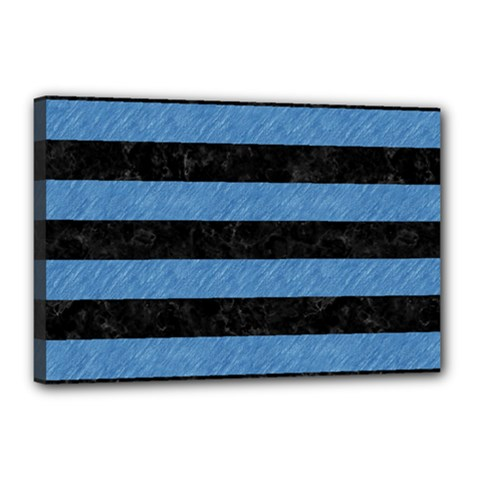 Stripes2 Black Marble & Blue Colored Pencil Canvas 18  X 12  (stretched) by trendistuff