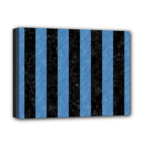 Stripes1 Black Marble & Blue Colored Pencil Deluxe Canvas 16  X 12  (stretched)  by trendistuff
