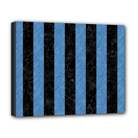 Stripes1 Black Marble & Blue Colored Pencil Deluxe Canvas 20  X 16  (stretched) by trendistuff